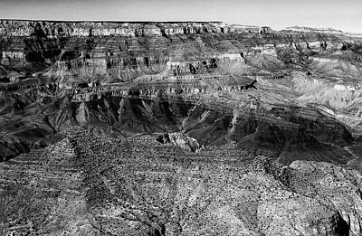 Photograph - Grand Canyon South Rim Textures 1 Bw by Mary Bedy