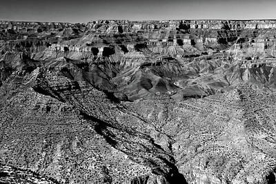 Photograph - Grand Canyon South Rim Textures 11 Bw by Mary Bedy