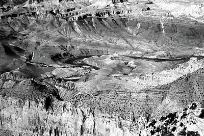 Photograph - Grand Canyon South Rim Textures 16 Bw by Mary Bedy