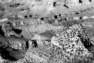 Photograph - Grand Canyon South Rim Textures 22 Bw by Mary Bedy