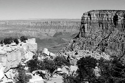 Photograph - Grand Canyon South Rim Textures 3 Bw by Mary Bedy