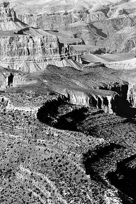 Photograph - Grand Canyon South Rim Textures 4 Vertical Bw by Mary Bedy