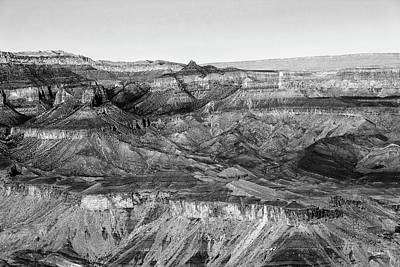 Photograph - Grand Canyon South Rim Textures 8 Bw by Mary Bedy