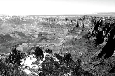 Photograph - Grand Canyon South Rim Textures 9 Bw by Mary Bedy