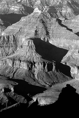 Photograph - Grand Canyon South Rim Texures 5 Vertical Bw by Mary Bedy