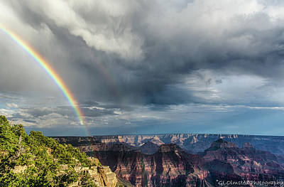 Art Print featuring the photograph Grand Canyon Stormy Double Rainbow by Gaelyn Olmsted