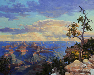 Canyons Painting - Grand Canyon Sunrise by Gary Kim