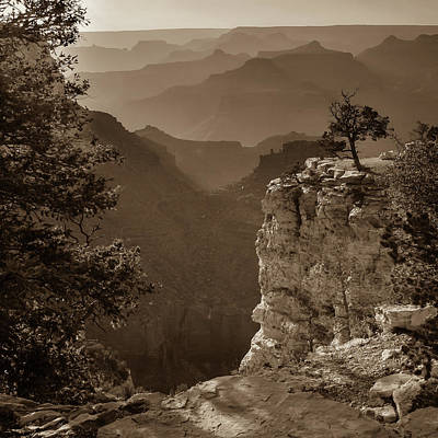 Photograph - Grand Canyon Sunset - Arizona - Sepia Square Format by Gregory Ballos