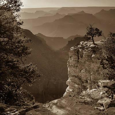 Photograph - Grand Canyon Sunset - Arizona - Sepia Square Format by Gregory Ballos