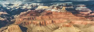 Photograph - Grand Canyon Sunset Digital Painting 2 by Teresa Wilson
