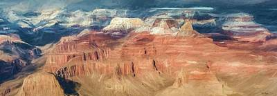 Photograph - Grand Canyon Sunset Digital Painting by Teresa Wilson
