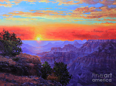 Navajo Painting - Grand Canyon Sunset by Gary Kim
