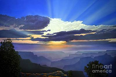 Sunset Grand Canyon Painting - A Sight To Behold by Jerry Bokowski