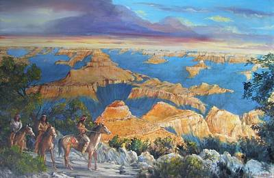 Painting - Grand Canyon Visitors At Sunrise by Perrys Fine Art