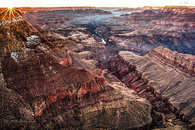 Framed Winter Snow Photograph - Grand Canyon Winter Sunset by Brian Tada