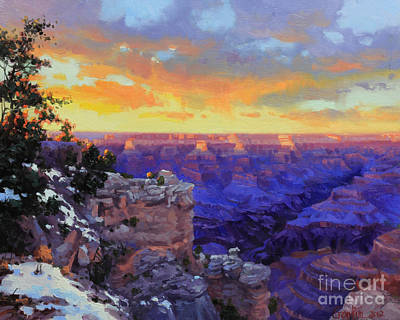 Canyon Painting - Grand Canyon Winter Sunset by Gary Kim