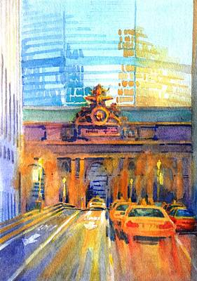 City Scape Wall Art - Painting - Grand Central Before Six, Driver by Virgil Carter
