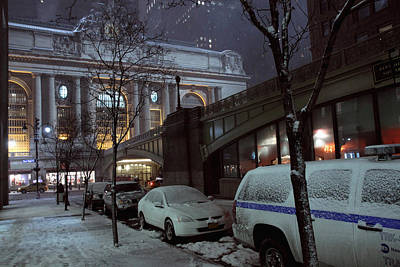 Grand Central Station Manhattan Ny View From E43rd St And Park Avenue At Late Night Snow Storm Original by Alexander Winogradoff