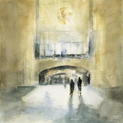 Contemporary Watercolor Painting - Grand Central Terminal Light by Beverly Brown