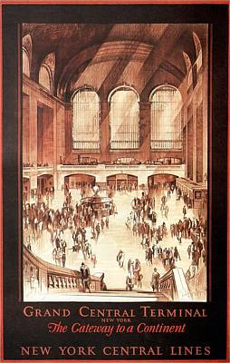 Painting - Grand Central Terminal, New York - Vintage Illustrated Poster by Studio Grafiikka