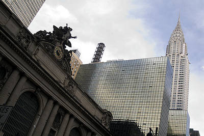Photograph - Grand Central And The Chrysler Building by Michael Dorn