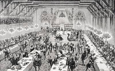 White Wine Drawing - Grand Ceremonial Banquet At The French by Vintage Design Pics