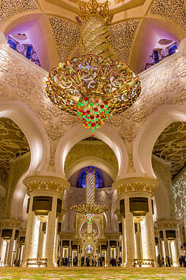 Photograph - Grand Chandelier Of Sheikh Zayed Mosque - Vertical  by Yogendra Joshi