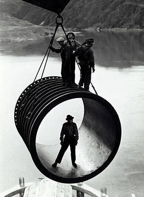 Photograph - Grand Coulee Dam Construction C. 1935 by Daniel Hagerman