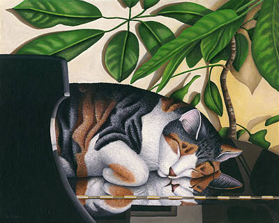 Piano Painting - Grand Dreams - Cat On Piano by Carol Wilson