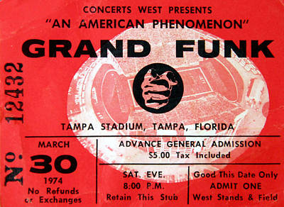 Photograph - Grand Funk 1974 Concert Ticket by David Lee Thompson