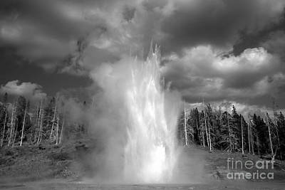 Photograph - Grand Geyser Explodes Black And White by Adam Jewell