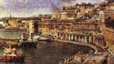 Digital Art - Grand Harbour Valletta Malta by Leigh Kemp