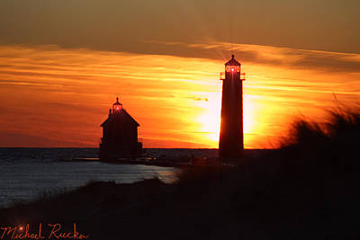 Photograph - Grand Haven Lighthouse Pier by Michael Rucker