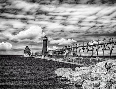 Photograph - Grand Haven Lighthouse -bw by Nick Zelinsky