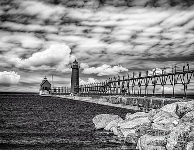 Photograph - Grand Haven Lighthouse -bw by Nick Zelinsky