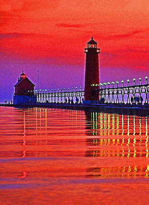 Grand Haven Lighthouse Art Print by Dennis Cox