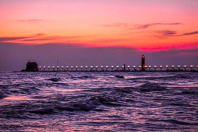 Grand Haven Lighthouse Great Lakes Michigan Art Print by Art Spectrum