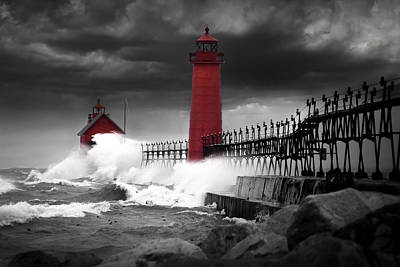 Randall Nyhof Royalty Free Images - Grand Haven Lighthouse in a Rain Storm Royalty-Free Image by Randall Nyhof