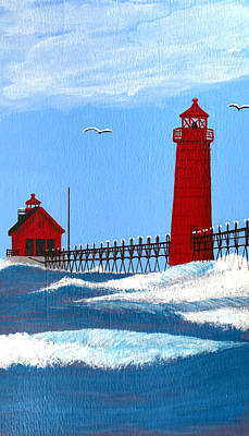 Painting - Grand Haven Lighthouse Painting by Frederic Kohli