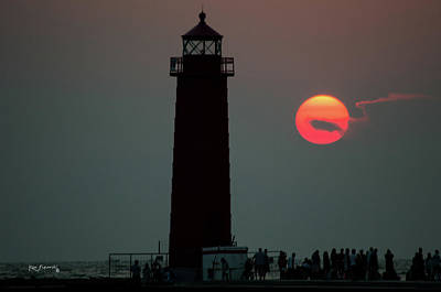 Photograph - Grand Haven Michigan Lighthouse Sun Three Colors by Ken Figurski