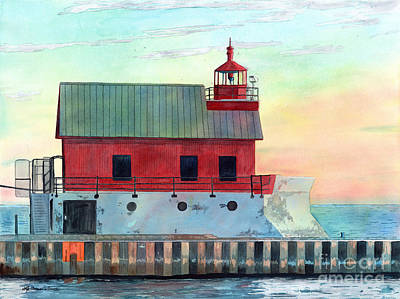 Painting - Grand Haven Outer Light by LeAnne Sowa