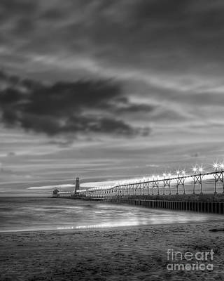 Grand Haven Pier In Black And White Print by Twenty Two North Photography