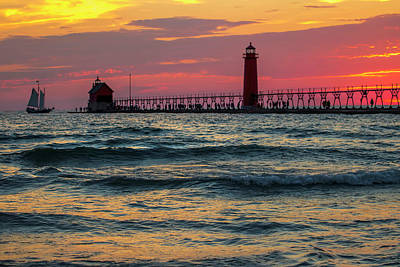 Grand Haven Pier Sail Art Print by Pat Cook