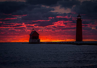 Wall Art - Photograph - Grand Haven Michigan Red Sunset by J Thomas