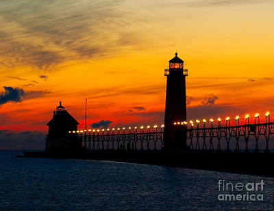 Grand Haven Sunset Art Print by Nick Zelinsky