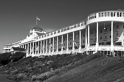 Photograph - Grand Hotel Mackinac Island 2 Bw by Mary Bedy