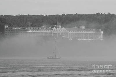 Photograph - Grand Hotel Through The Fog Grayscale by Jennifer White