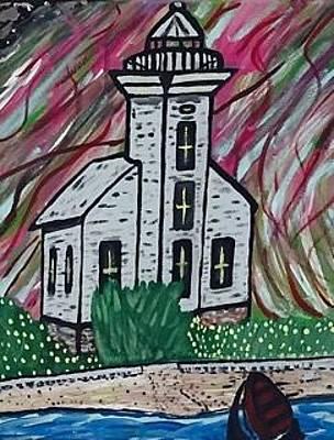 Painting - Grand Island East Channel Lighthouse Munising Michigan by Jonathon Hansen