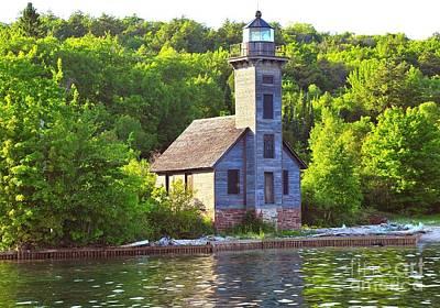 Grand Island Lighthouse In Munising Michigan Art Print