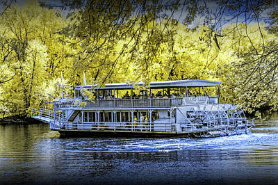 Photograph - Grand Lady Paddle Wheel Boat In Infrared On A River Cruise On The Grand River by Randall Nyhof